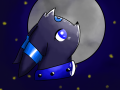 shade staring at the moon at night